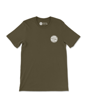 Army Green Badge of Good Times T-Shirt Front