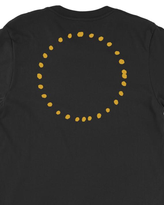 Black Circular T-Shirt Back Graphic Detail